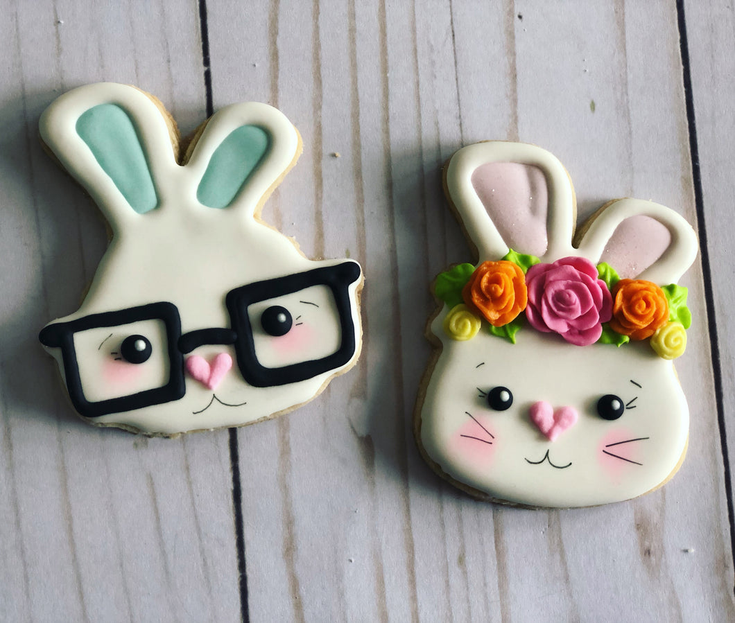Easter cookie gift - rabbits faces