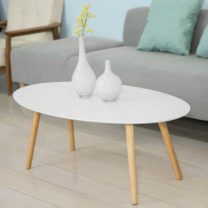 SoBuy® FBT61-W Table Basse ovale Table d'appoint Design Moderne Table de Salon en Bois