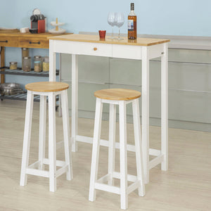 SoBuy® FWT50-WN Set De 1 Table+2 Tabourets Table Mange-Debout Table Haute– Blanc Naturel
