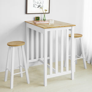 SoBuy FWT65-WN Set de Table + 2 Chaises Style de Bar Ensemble Table de Bar + 2 Tabourets de Bar