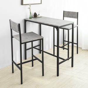 SoBuy OGT03-HG Ensemble Table de Bar + 2 Chaises Set de 1 Table + 2 Tabouret Haut de Bar Table Haute
