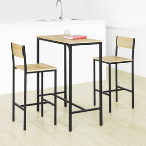 SoBuy OGT03-L-N Lot Table et 2 Chaises de Bar de Style Industriel Ensemble Table de Bar + Tabourets de Bar