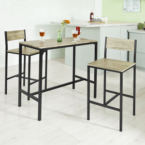 SoBuy® OGT03 Ensemble table de bar + 2 chaises,Table haute cuisine