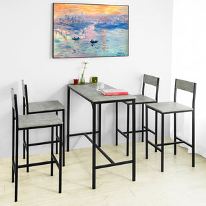 SoBuy OGT14-HG Set de Table Haute + 4 Chaises de Bar Ensemble Table de Bar + 4 Tabourets de Bar avec Repose-Pieds