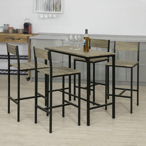 SoBuy® OGT14-N Set de 1 Table + 4 chaises Ensemble table de bar + 4 tabourets de bar