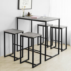 SoBuy OGT15-HG Set de 1 Table + 4 Tabourets Ensemble Table de Bar Bistrot