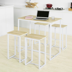 SoBuy OGT15-WN Set de 1 Table + 4 Tabourets Ensemble Table de Bar Bistrot + 4 Tabourets de Bar avec Repose-Pieds