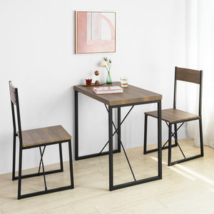SoBuy® OGT19-N Set de 1 Table + 2 Chaises Table à Manger Table de Cuisine Ensemble Table de Balcon + 2 tabourets avec Dossier mobilier de Jardin