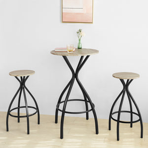 SoBuy® OGT21-SCH Set de 1 Table + 2 Tabourets Ensemble Table de Bar bistrot + 2 tabourets avec Repose-Pieds