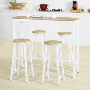 SoBuy OGT22-WN Set de Table + 4 Tabourets Ensemble Table de Bar Bistrot + 4 Tabourets de Bar avec Repose-Pieds(Blanc)