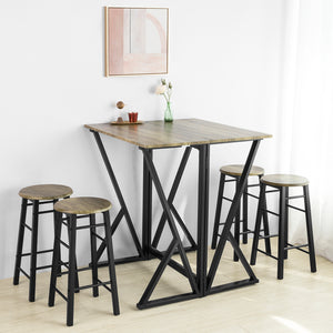 SoBuy® OGT24-N Set de 1 Table + 4 Chaises Ensemble Table de Bar bistrot + 4 tabourets Table Mange-Debout Table Haute Cuisine