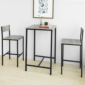 SoBuy OGT27-HG Ensemble Table de Bar + 2 Chaises de Bar Table Mange-Debout Table Haute Cuisine