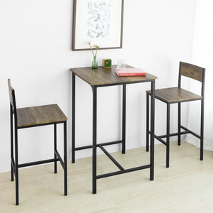 SoBuy OGT27-N Ensemble Table de Bar + 2 Chaises de Bar Table Mange-Debout