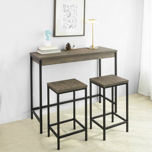 SoBuy OGT30-N Lot Table et Tabourets de Bar de Style Industriel Ensemble Table de Bar + 2 Tabourets Jeu de Bar Table Haute