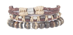 Indepal Leather ACCESSORY BRACELET - Black Pearl Trio