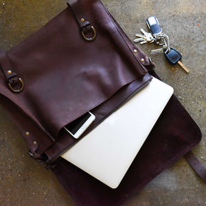 Indepal Leather BAGS Bill Leather Satchel 17""