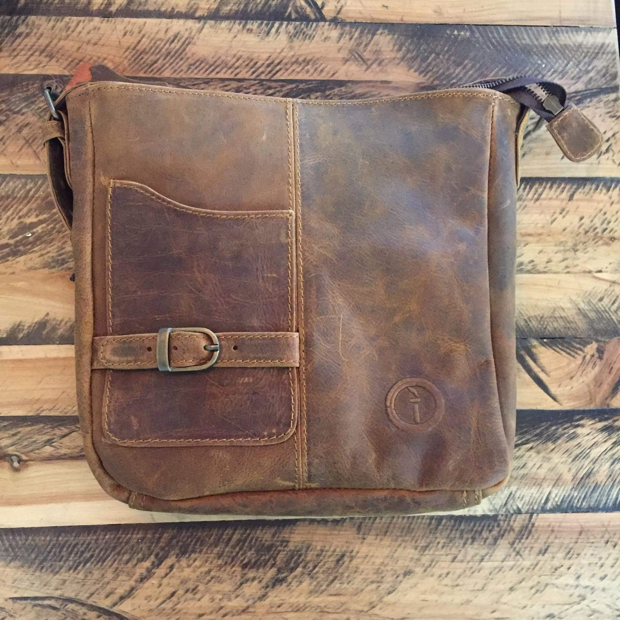 Indepal Leather BAGS Crazy Horse Tan Bondi Leather Satchel