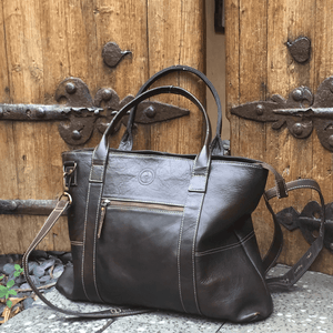 Indepal Leather BAGS Vintage Brown Jeroboam Leather Tote