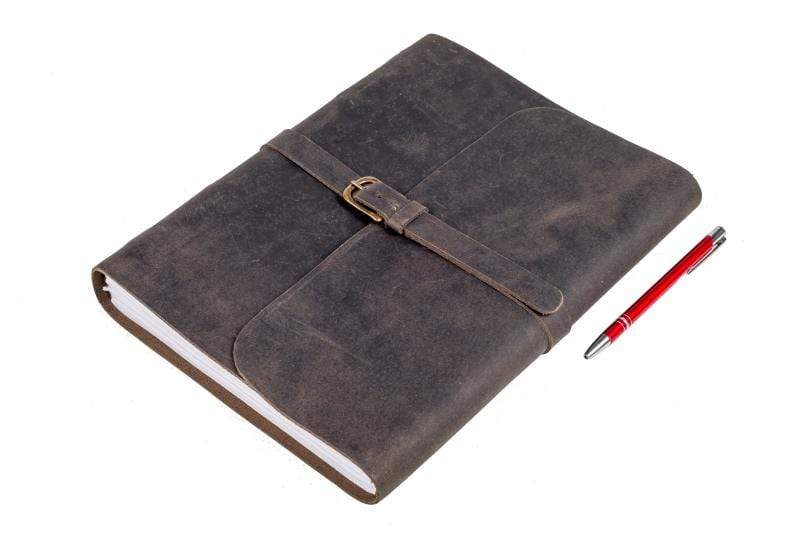 Indepal Leather JOURNAL Charcoal Journal - Buckle A4-XL