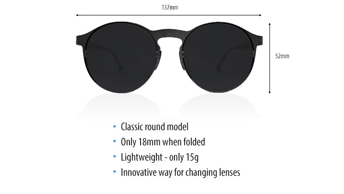 Looper folding round sunglasses specs