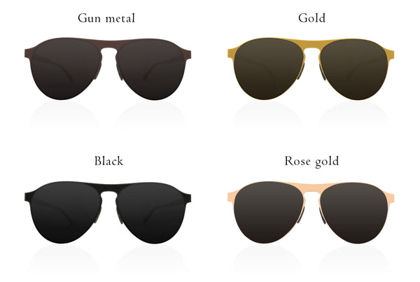 All our different color of the frame for Scout Aviator Folding sunglasses.