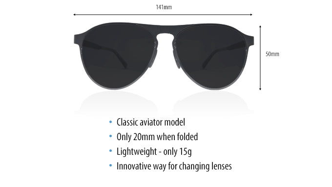 Specs for our foldable sunglasses aviator style named Scout