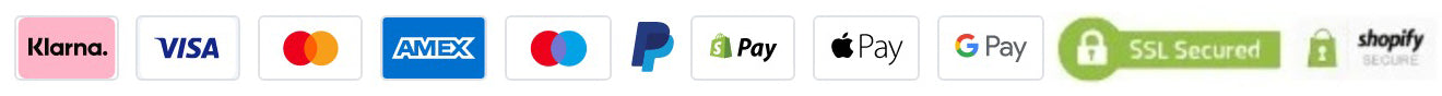 Pay with Card, PayPal, Klarna, Apple Pay and much more.