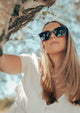 Dahlia Wayfarer sunglasses - On female Swedish model