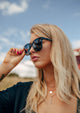 Dahlia Wayfarer sunglasses - On female blonde model