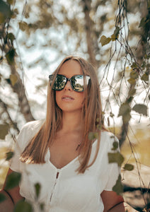 Iris Wayfarer sunglasses - On Swedish female model