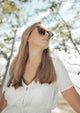 Jasmine Wayfarer sunglasses - On Swedish female model