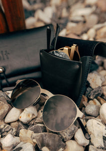 Foldable sunglasses - Looper classic round design - With Wolt leather bag