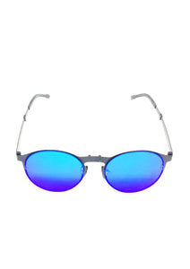Foldable sunglasses - Looper classic round design - Front with blue lenses.