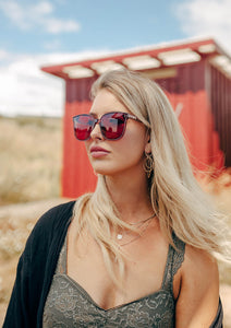 Magnolia Wayfarer sunglasses - On female blonde model