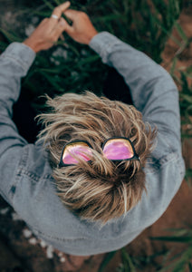 Monti Wayfarer sunglasses - Great shoot on the pink lenses