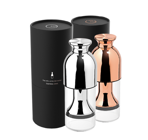 eto wine preservation decanter duo in stainless mirror and copper mirror finishes with black tube presentation pack