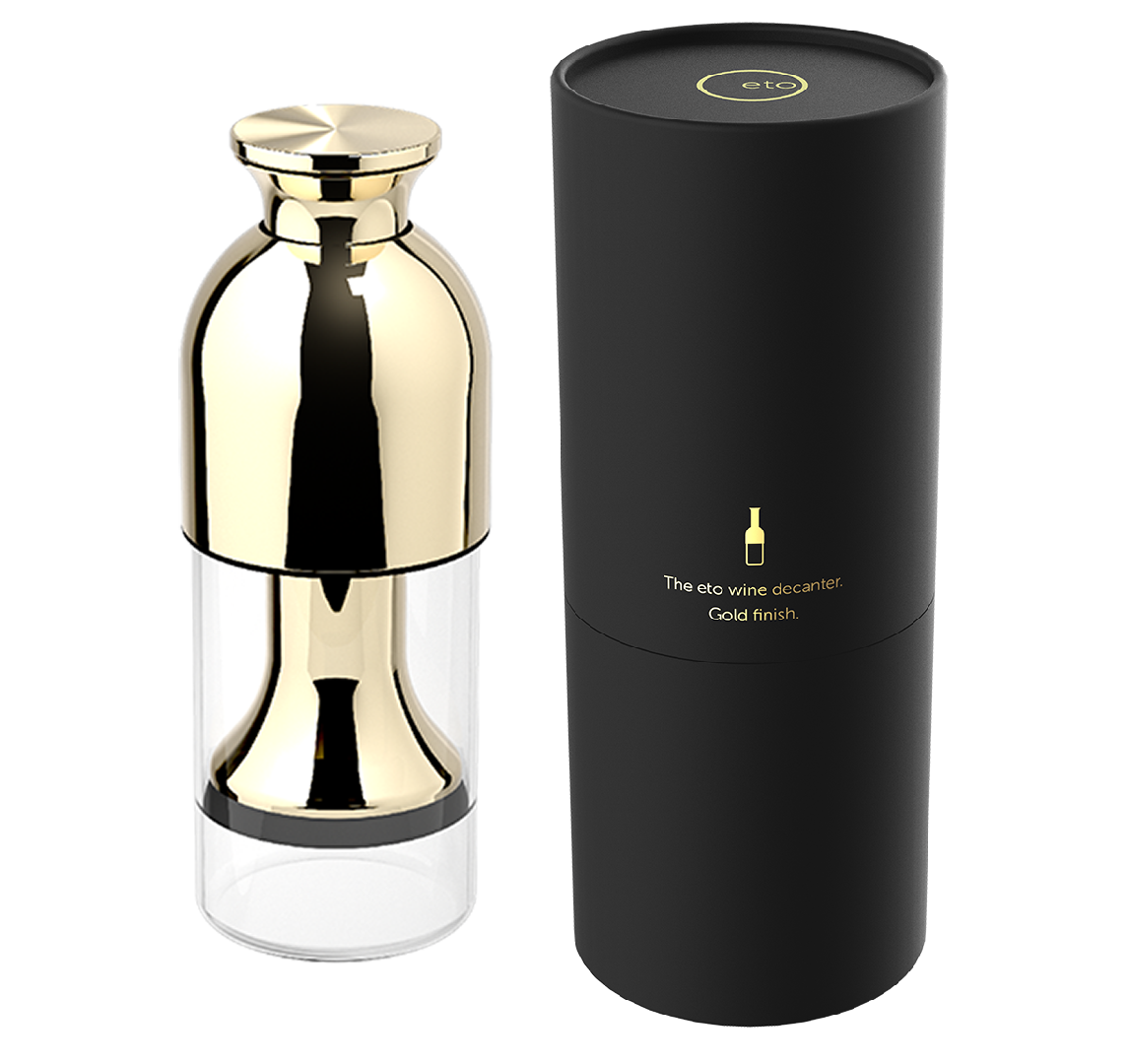 eto wine preservation decanter  in gold mirror finish with black tube presentation pack