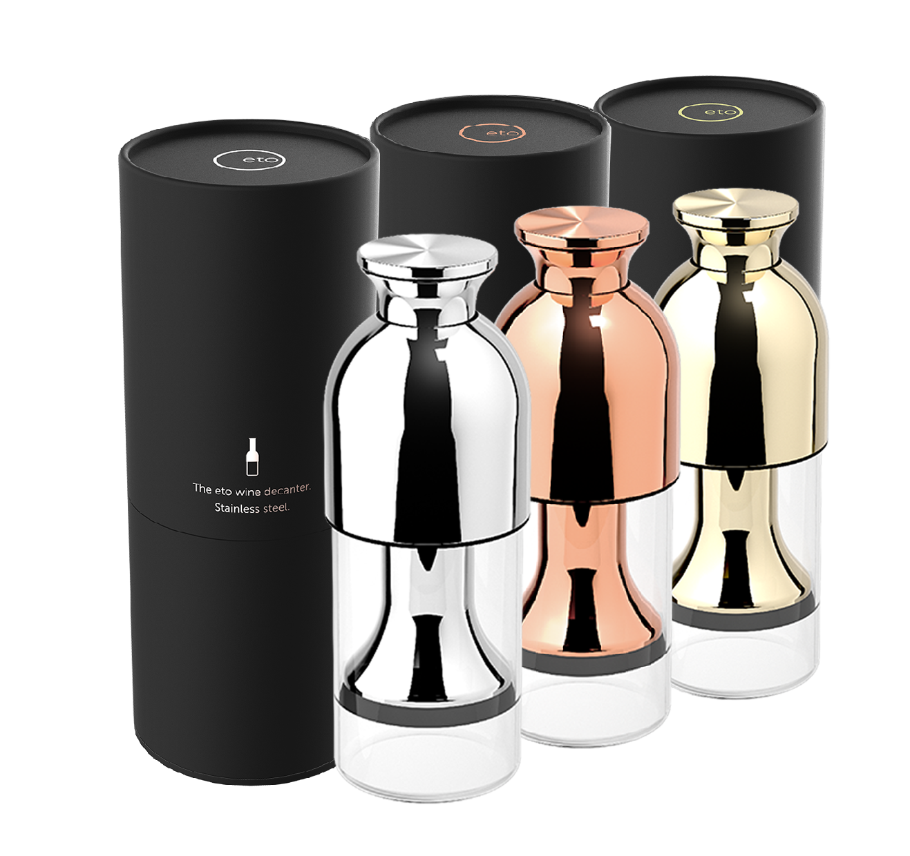 eto wine preservation decanter trio in stainless mirror copper mirror and gold mirror finishes with black tube presentation pack