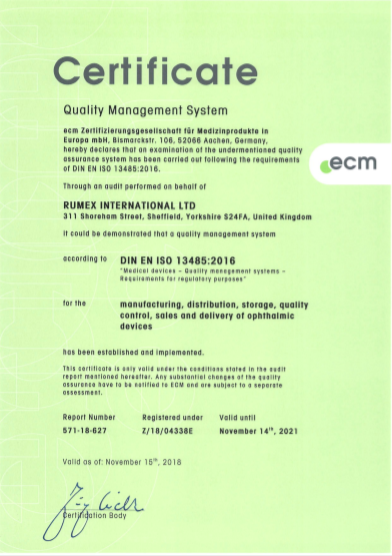 ISO 13486:2016 UK certificate for Rumex