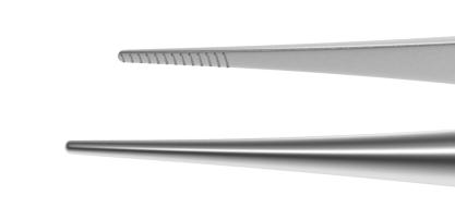 370R 4-070S Dressing Forceps With Delicate Serrations, 6.00 mm Serrated Tips, Straight, Round Handle, Length 108 mm, Stainless Steel