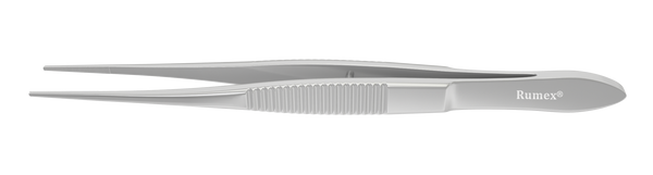 165R 4-071S Dressing Forceps With Serrations, 12.00 mm Serrated Tips, Straight, Flat Handle, Length 100 mm, Stainless Steel