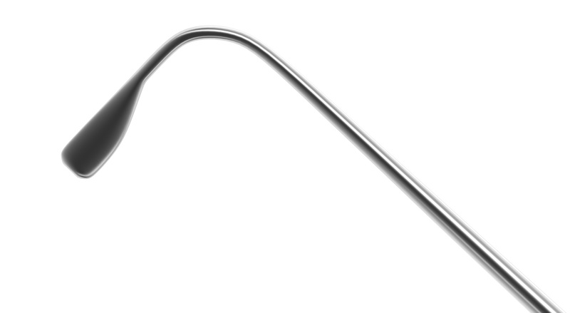 539R 5-041 Graefe Muscle Hook, Size 1, 1.00x8.00 mm Hook, Length 140 mm, Flat Titanium Handle