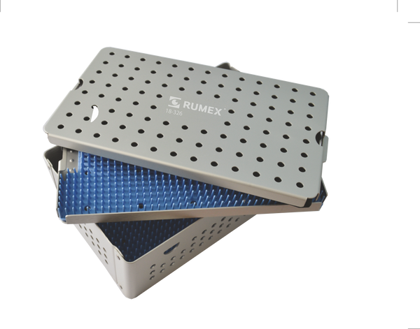 999R 18-326 Aluminum Sterilization tray with silicone mat, Double Level, 6.25 x 10.25 x 1.50""