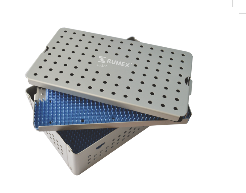 999R 18-327 Aluminum Sterilization tray with silicone mat, Double Level, 6.25 x 10.25 x 3.25""