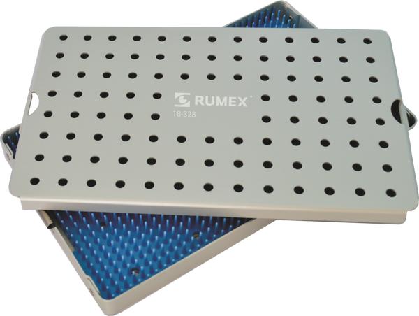 999R 18-328 Aluminum Sterilization tray with silicone mat, 6.25 x 10.25 x 3.25""