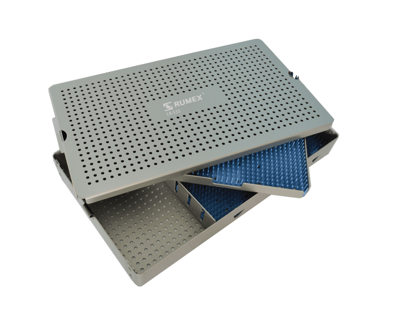 999R 18-333 Aluminum Sterilization tray with silicone mat, Double Level + Open Section, 8.75 x 14.75 x 1.75""