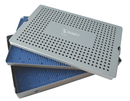 999R 18-336 Aluminum Sterilization tray with silicone mat, Double Level, 10.50 x 15.50 x 1.50""