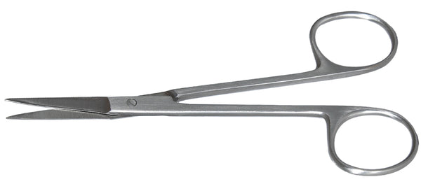 195R 11-080S Straight Iris Scissors, Sharp Tips, 28.00 mm Blades, Ring Handle, Length 125mm, Stainless Steel
