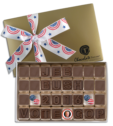 Jeb Bush For President - Chocolate Text Box with Imprinted Ribbon and Chocolate Candidate