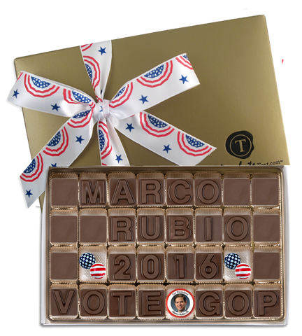 Marco Rubio For President - Chocolate Text Box with Imprinted Ribbon and Chocolate Candidate
